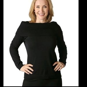 NEW Joan Rivers Off the Shoulder blk sweater